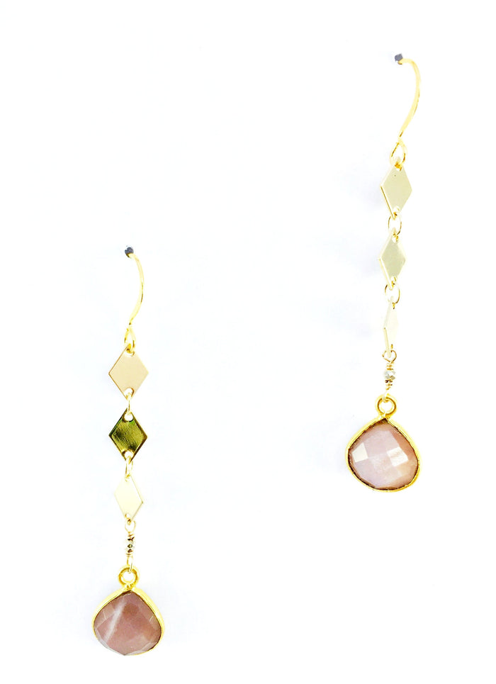 Mauve Moonstone Diamond Drop Earring