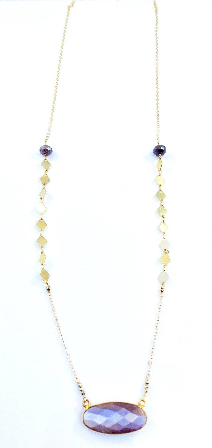 Mauve Moonstone Oval and Diamond Chain Necklace