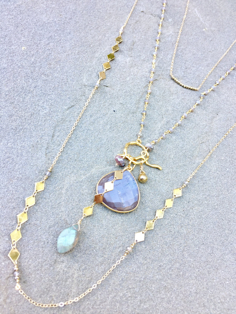 Mauve Moonstone & Labradorite Cluster Necklace
