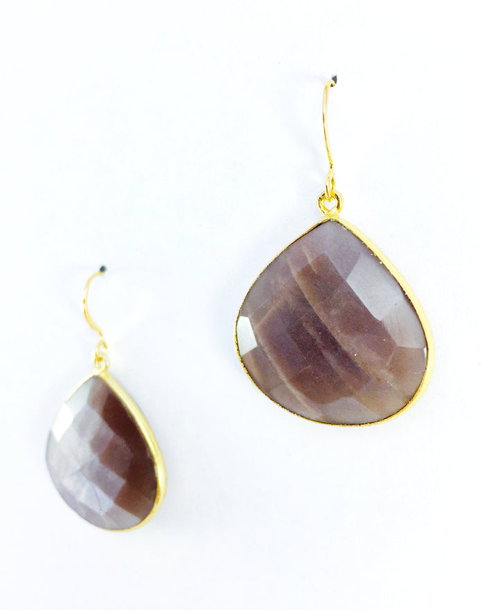 Mauve Moonstone Teardrop Earring