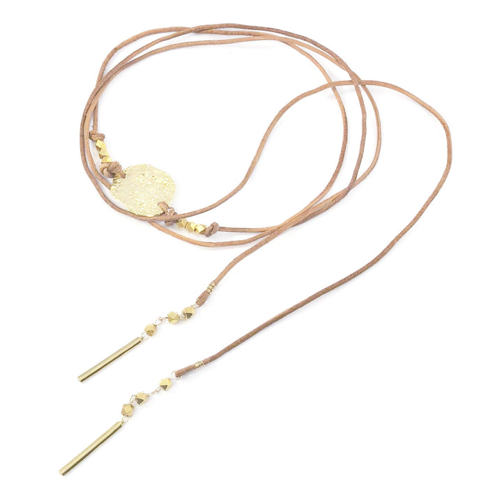 Multi Wrap Textured Disc Leather Necklace