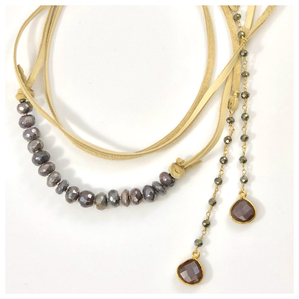 Multi Wrap Mauve Moonstone Leather Necklace