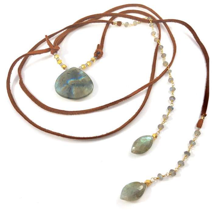 Multi Wrap Labradorite Leather Necklace