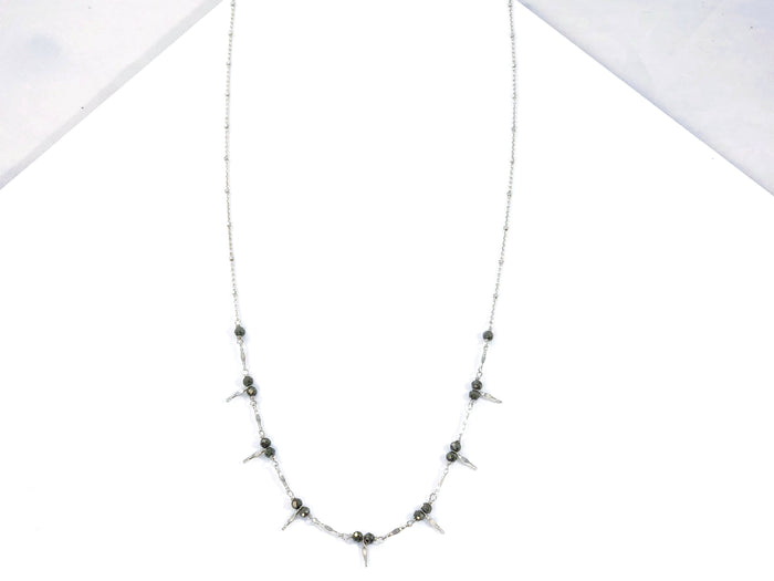 Mini Multi Spike and Pyrite Necklace