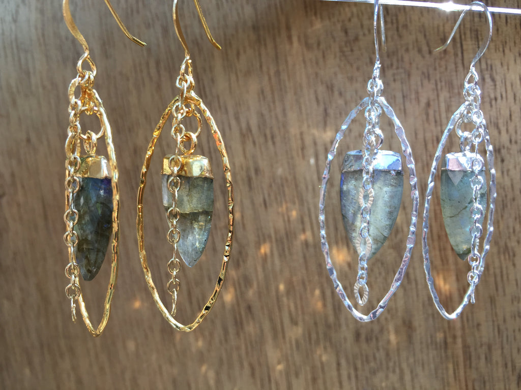 Labradorite Tooth Dangle Earring