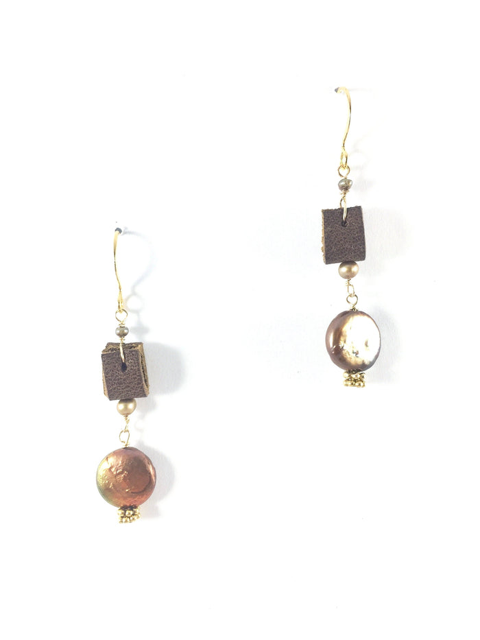 Coin Pearl & Leather Earring