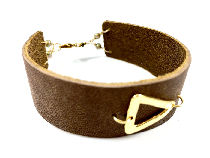 Leather Cuff with Vermeil Triangle Bracelet