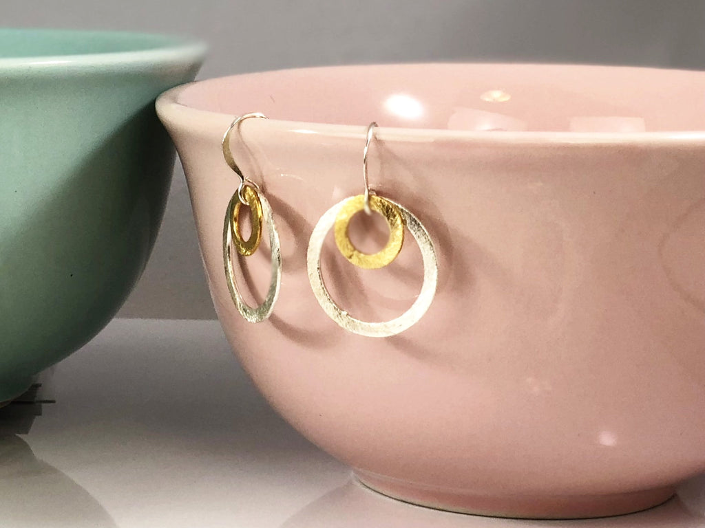 Double Circle Brushed Earring
