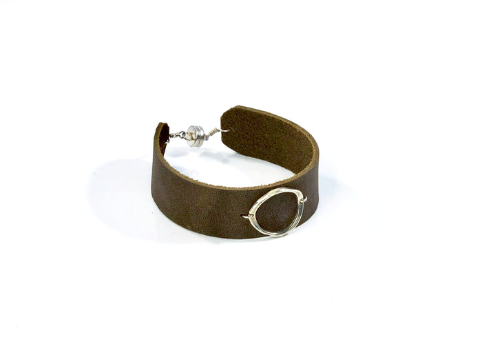 Circle on Leather Cuff Bracelet