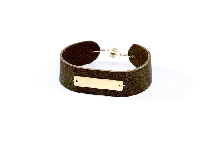 Vermeil Bar on Leather Cuff Bracelet