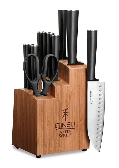 Ginsu Akita Series 12 Piece Japanese Stainless Steel Knive Set w/Bamboo Blo