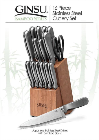 Ginsu Stainless Steel 16 Piece Knives with Bamboo Block