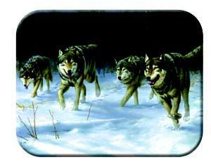 Tuftop Tempered Glass Kitchen Board, Wildlife Collection - Wolves Small
