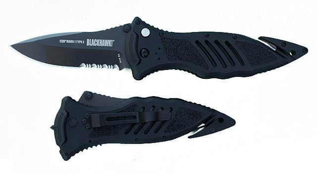 Blackhawk Product Group CQD Mark I Type E, Single Serrated Blade Pocket Kni