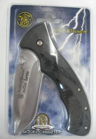 Smith & Wesson Cuttin' Horse Single Steel Blade Pocket Knife, Black Handle
