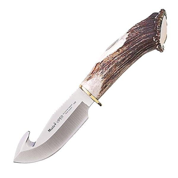 Muela of Spain Viper, Stag Handle, Plain w/Guthook, w/Leather Sheath
