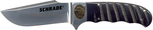 Schrade Fixed Clip Blade w/ Buffalo Horn Handle and Bronze Eagle Shield