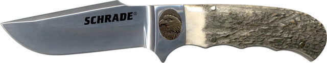Schrade Fixed Clip Blade w/ Stag Handle and Bronze Eagle Shield