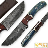 White Deer Blue Bunyan Damascus Steel Knife Bison Bone & Hardwood Handle