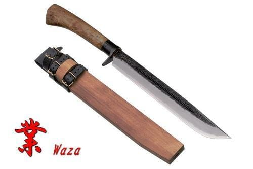 Kanetsune Waza KB114 Fixed Blade Knife with Oak Handle and Wooden Sheath