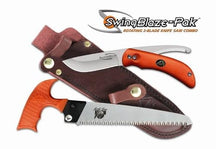 Outdoor Edge SwingBlaze-Pak Rotating 2-Blade Knife/Saw Combo with Leather S