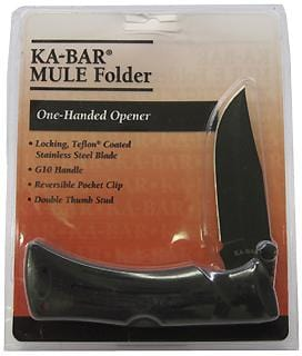 Ka-bar Knives MuleG10 Blk Strght Edge Fold/Clam