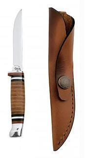 "Case Cutlery Hunter 3 1/8"" Clip Blade Fixed Blade Knife with Leather Handle"