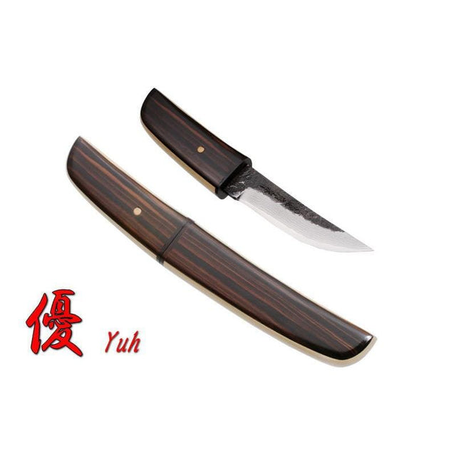 Kanetsune Yuh Damascus Fixed Blade Knife with Wooden Sheath