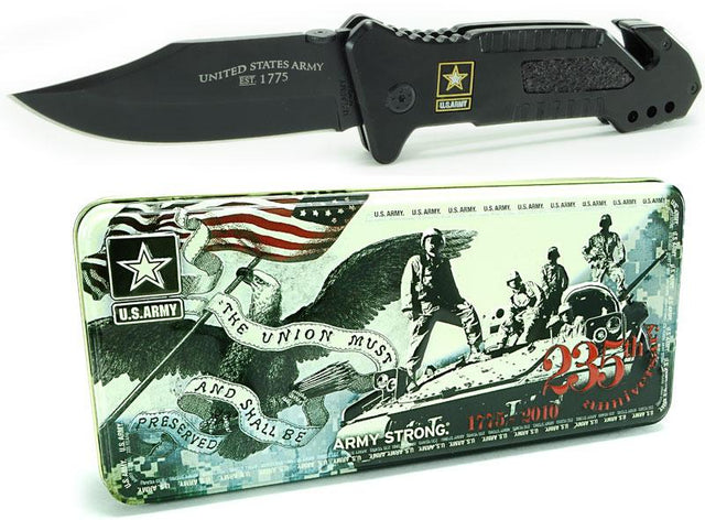US Army Collector Tin with ARMY7 Black Titanium Coated Pocket Knife