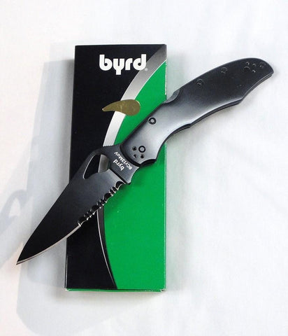 Byrd Knives Cara Cara2 Black Stainless Steel  Black Blade Combination Edge