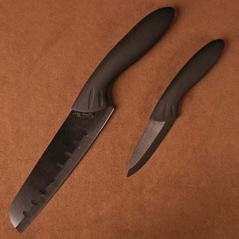Stone River 2pc Black Ceramic Santoku/Parer Set