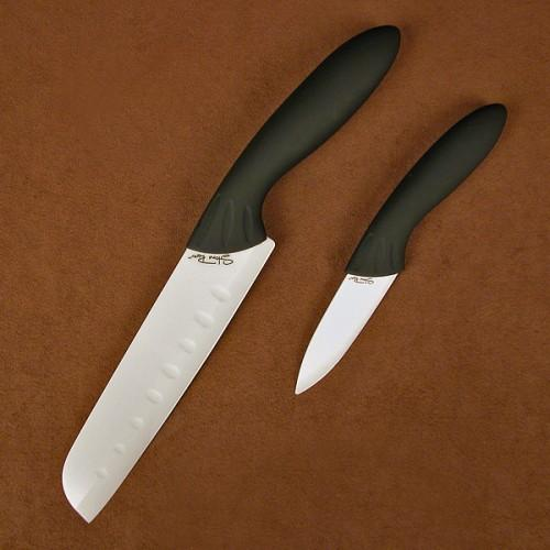 Stone River 2pc  White Cer. Santoku/Parer Set