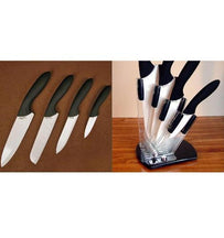 Stone River Cer. Cutlery Set w/Holder White