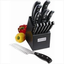 14-Pc Triple Rivet Cutlery Set w/ Block - Knife Depot