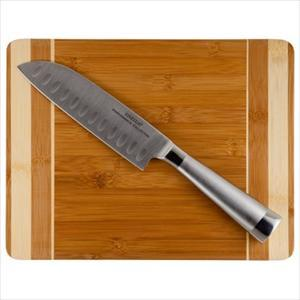 2-Pc Bamboo Cutting Board, Santoku Knife
