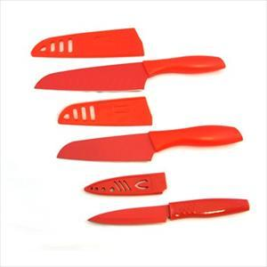 Santoku Set with Parer (Red)