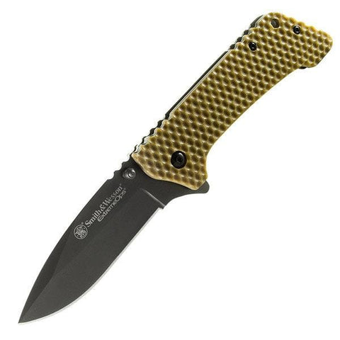 Smith & Wesson Extreme Ops, Brown G-10 Honeycomb Handle, Black Blade, Plain
