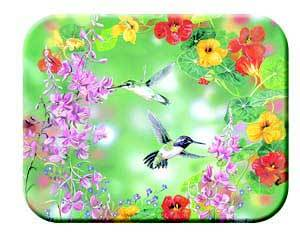 Tuftop Tempered Glass Kitchen Board, Artist Collection - Hummingbirds Mediu