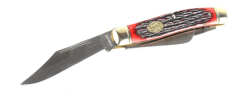 Schrade Senior 3-Blade Pocket Knife with Red Pick Bone Handle