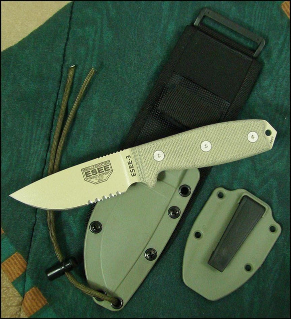 ESEE-3 Serrated Edge Fixed Blade, Coyote Brown Sheath, MOLLE Back, Boot Cli
