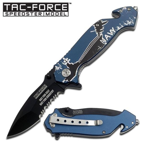 Blue Handle Rescue Assisted Opening Knife - Navy