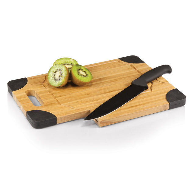 Picnic Time Culina Bamboo Board w/ Black Silicone Accents and Knife