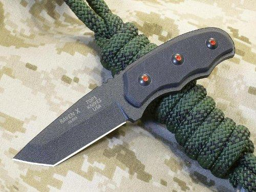 Tops Knives Raven X Fixed Blade Knife with Black G-10 Handles