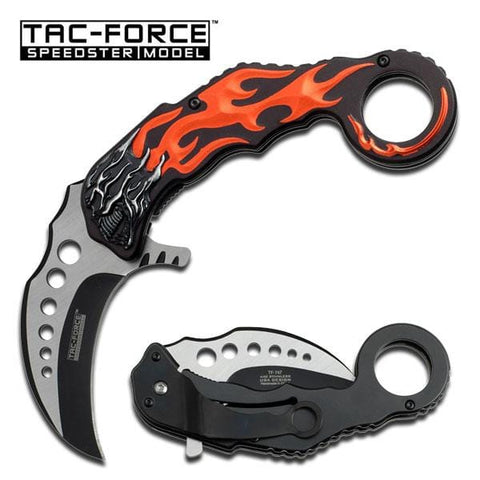 Red Skull Karambit Spring Assisted Knife - Two Tone Blade