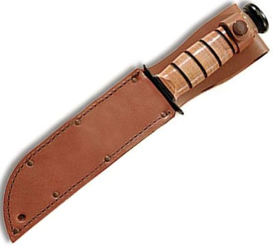 "KA-BAR Knives Leather Plain Brown Sheath, Fits Knives with 7"" Blade"
