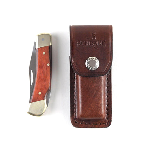 Engraved Schrade Uncle Henry LB5 Smokey Pocket Knife with Leather Sheath