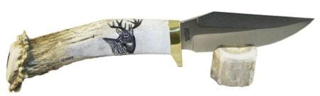 Silver Stag ScrimShaw Series Bird & Trout Fixed Knif