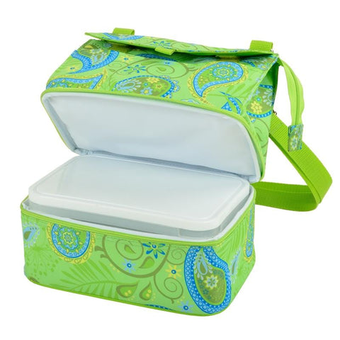 Picnic at Ascot Paisley Collection Lunch Cooler & Food Container, Green Paisley