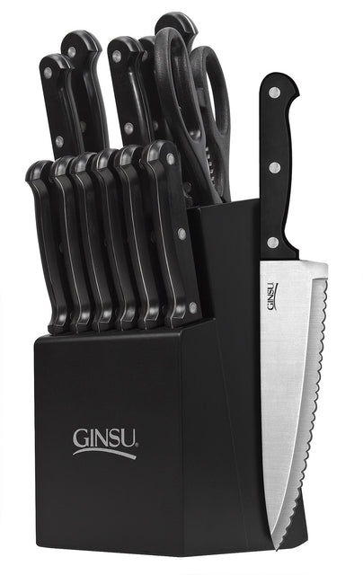 Ginsu Essential Series 14 Piece Cutlery Set w/ Black Block and Black Handles