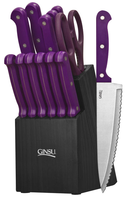 Ginsu Essential Series 14 Piece Cutlery Set w/ Black Block and Purple Handles